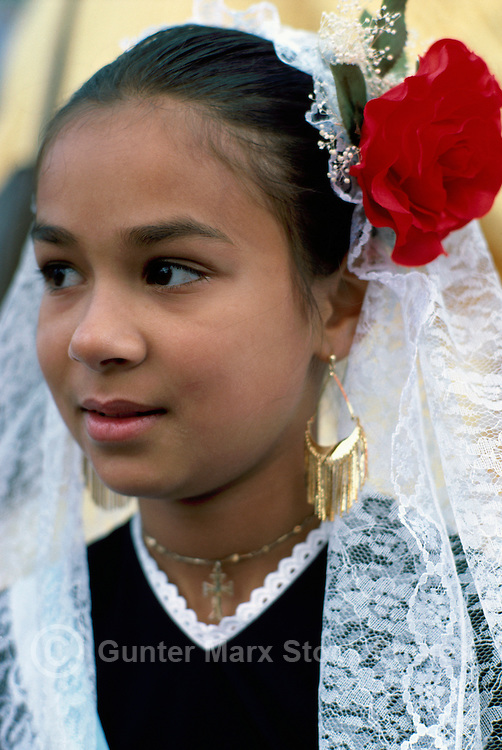Portrait of Young Spanish Girl wearing Traditional Costume at Ethnic Festival, BC, British Columbia, Canada (No Model Release Available)