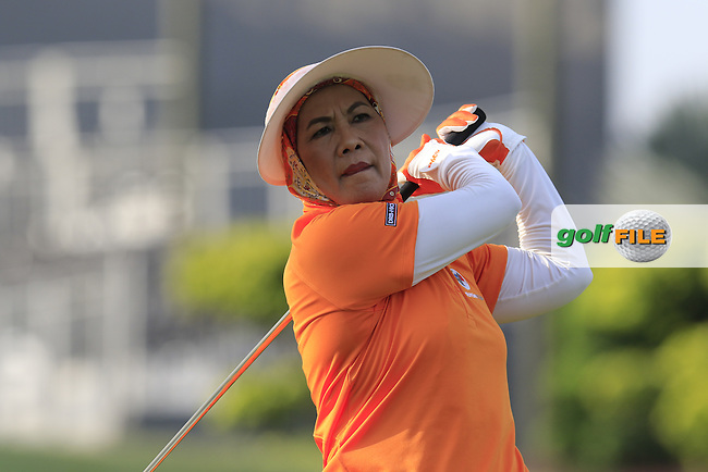 Her Majesty, The Raja Permaisuri Agong, Tuanka Hajah Haminah Hamidun, The Queen of Malaysia plays the first tee shot to start the Pro-Am Day of the 2016 Eurasia Cup held at the Glenmarie Golf &amp; Country Club, Kuala Lumpur, Malaysia. 14th January 2016.<br /> Picture: Eoin Clarke | Golffile<br /> <br /> <br /> <br /> All photos usage must carry mandatory copyright credit (&copy; Golffile | Eoin Clarke)