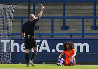 Tahiti Chong (Manchester United) of Holland is shocked at being handed a yellow card for diving during the International match between England U19 and Netherlands U19 at New Bucks Head, Telford, England on 1 September 2016. Photo by Andy Rowland.