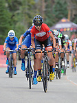 August 11, 2017 - Breckenridge, Colorado, U.S. -   Team Rally rider, Sara Poidevin, wearing the Queen of the Mountain Jersey leads the women's peloton atop the Moonstone climb during the second stage of the inaugural Colorado Classic cycling race, Breckenridge, Colorado.  Sara Poidevin wins the Women's Colorado Classic.