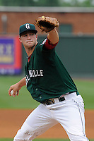 Starting pitcher Jacob Dahlstrand (34) of the Greenville Drive in a game against the Hickory Crawdads on Sunday, June 9, 2013, at Fluor Field at the West End in Greenville, South Carolina. Hickory won, 6-3. (Tom Priddy/Four Seam Images)