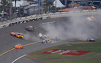 Feb 10, 2007; Daytona, FL, USA; ARCA RE/MAX Series drivers Josh Wise (22) Benny Chastain (24) Brian Conz (8) Chad McCumbee (62) crash during the ARCA 200 at Daytona International Speedway. Mandatory Credit: Mark J. Rebilas