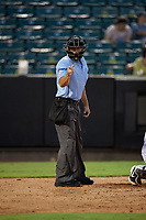 Umpire Ben Sonntag calls a strike during a Southern League game between the Mississippi Braves and Jackson Generals on July 23, 2019 at The Ballpark at Jackson in Jackson, Tennessee.  Mississippi defeated Jackson 1-0 in the second game of a doubleheader.  (Mike Janes/Four Seam Images)