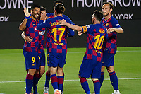 8th July 2020; Camp Nou, Barcelona, Catalonia, Spain; La Liga Football, Barcelona versus Espanyol; Luis Suarez celebrates after scoring with Messi and Griezmann in minute 56 for 1-0