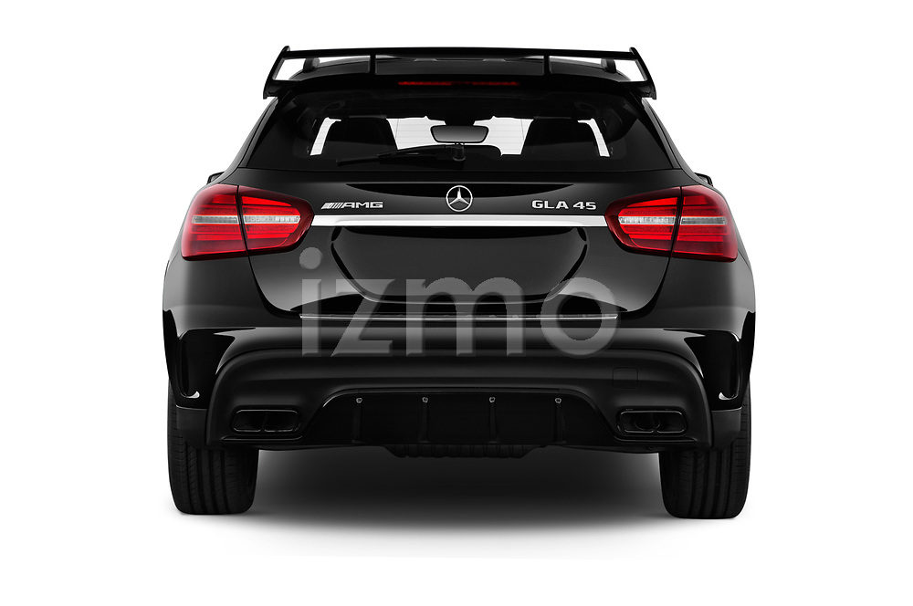 Straight rear view of a 2019 Mercedes Benz GLA AMG 45 5 Door SUV stock images