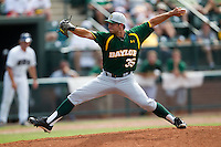 Baylor Bears pitcher Crayton Bare #35 delivers during the NCAA Regional baseball game against Oral Roberts University on June 3, 2012 at Baylor Ball Park in Waco, Texas. Baylor defeated Oral Roberts 5-2. (Andrew Woolley/Four Seam Images)