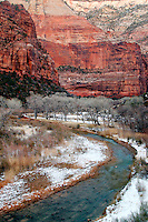 North Fork Virgin River flowing below red canyon walls, Zion National Park, Washington County, U