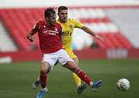 Fleetwood Town's Lewis Coyle battles with Nottingham Forest's Yuri Ribeiro <br /> <br /> Photographer Mick Walker/CameraSport<br /> <br /> The Carabao Cup First Round - Nottingham Forest v Fleetwood Town - Tuesday 13th August 2019 - The City Ground - Nottingham<br />  <br /> World Copyright © 2019 CameraSport. All rights reserved. 43 Linden Ave. Countesthorpe. Leicester. England. LE8 5PG - Tel: +44 (0) 116 277 4147 - admin@camerasport.com - www.camerasport.com