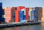 Colourful containers stacked on quayside, Port of Rotterdam, Netherlands