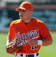 Clemson outfielder Addison Johnson (18) warms up prior to a game between the Clemson Tigers and Mercer Bears on Feb. 23, 2008, at Doug Kingsmore Stadium in Clemson, S.C. Photo by: Tom Priddy/Four Seam Images