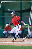GCL Braves center fielder Carlos Baerga (64) hits a single during a game against the GCL Pirates on July 27, 2017 at ESPN Wide World of Sports Complex in Kissimmee, Florida.  GCL Braves defeated the GCL Pirates 8-6.  (Mike Janes/Four Seam Images)