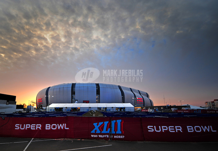 Feb 2, 2008; Glendale, AZ, USA; The sun sets over University of Phoenix Stadium the evening prior to Super Bowl XLII. The New England Patriots will face the New York Giants Sunday February 3, 2008. Mandatory Credit: Mark J. Rebilas-US PRESSWIRE
