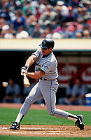 OAKLAND, CA:  Wade Boggs of the Tampa Bay Devil Rays bats during a game against the Oakland Athletics at the Oakland Coliseum in Oakland, California in 1998. (Photo by Brad Mangin)