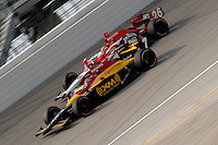 11 September, 2005, Joliet,IL,USA<br /> Bryan Herta (7) races teammate Dan Wheldon.<br /> Copyright&copy;F.Peirce Williams 2005