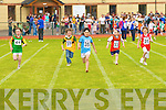 Tara Riordain (35) Portmagee leads Emily O'Sullivan (37) Currow, Megan O'Keeffe (33) Rathmore and Jennie Fox (31) Rock Street/Caherslee in the 60m hurdles at the Denny County Community Games in An Riocht Castleisland on Sunday   Copyright Kerry's Eye 2008