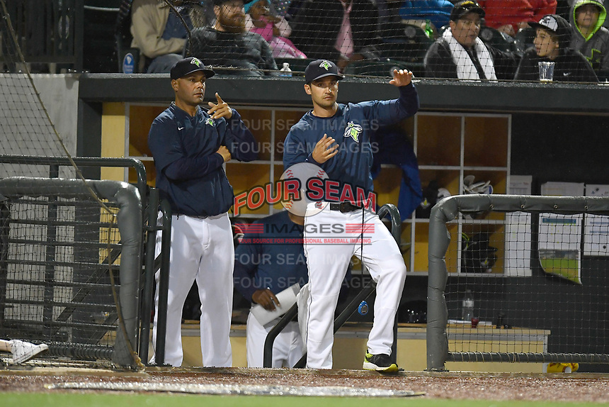 Hitting coach Joel Fuentes (12), left, and manager Jose Leger (12) of the Columbia Fireflies signal to players in the field during a game against the Lakewood BlueClaws on Saturday, May 6, 2017, at Spirit Communications Park in Columbia, South Carolina. Lakewood won, 1-0 with a no-hitter. (Tom Priddy/Four Seam Images)