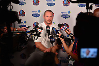 Canton, OH - August 3, 2018:  Former NFL linebacker Brian Urlacher holds a media availability during the 2018 Pro Football Hall of Fame Enshrinement Week, August 3, 2018.  (Photo by Don Baxter/Media Images International)