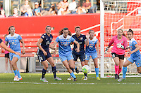 Bridgeview, IL, USA - Sunday, May 29, 2016: Chicago Red Stars defender Katie Naughton (5) goes after a loose ball.  during a regular season National Women's Soccer League match between the Chicago Red Stars and Sky Blue FC at Toyota Park.