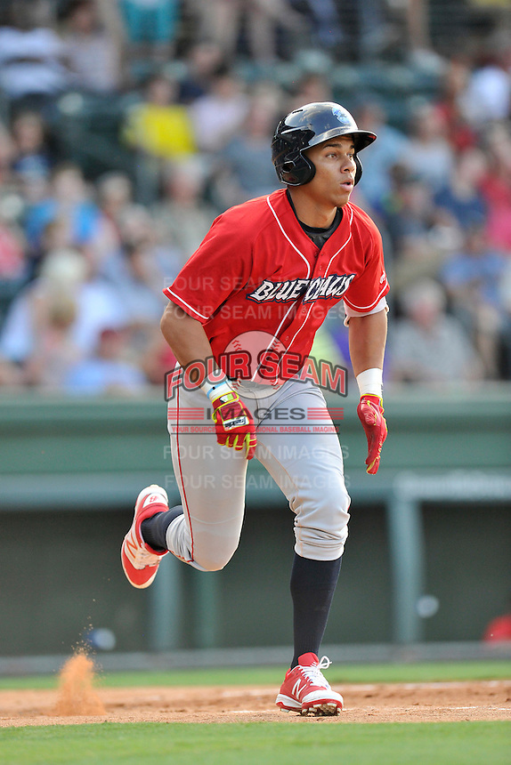 Third baseman Jan Hernandez (3) of the Lakewood BlueClaws bats in a game against the Greenville Drive on Thursday, June 23, 2016, at Fluor Field at the West End in Greenville, South Carolina. Lakewood won, 8-7. (Tom Priddy/Four Seam Images)