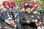 Manhattan Beach, CA 02-11-17 - Santa Clara Coach Greg Mengis discusses strategy with sideline players. in action during the MCLA non-conference game between LMU (SLC) and Santa Clara (WCLL).  Santa Clara defeated LMU 18-3.