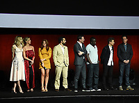 LAS VEGAS, NV - APRIL 24: (L-R) Actors Leslie Bibb, Annabelle Wallis, Isla Fisher, Jake Johnson, Jon Hamm, Hannibal Buress, Jeremy Renner, and Ed Helms onstage during the Warner Bros. Pictures presentation at CinemaCon 2018 at The Colosseum at Caesars Palace on April 24, 2018 in Las Vegas, Nevada. (Photo by Frank Micelotta/PictureGroup)
