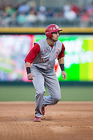 Joel McKeithan (5) of the North Carolina State Wolfpack takes his lead off of second base against the Charlotte 49ers at BB&T Ballpark on March 31, 2015 in Charlotte, North Carolina.  The Wolfpack defeated the 49ers 10-6.  (Brian Westerholt/Four Seam Images)