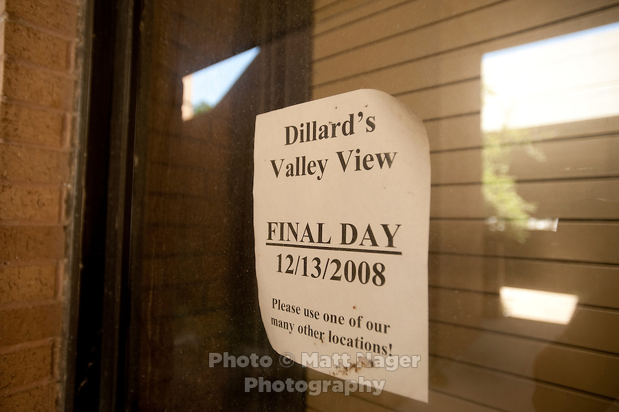 A sign announcing the final days of Dillard's at the Valley View Center Mall in Dallas, Texas, Saturday, August 21, 2010. Dillard's closed in 2008...MATT NAGER for the Wall Street Journal