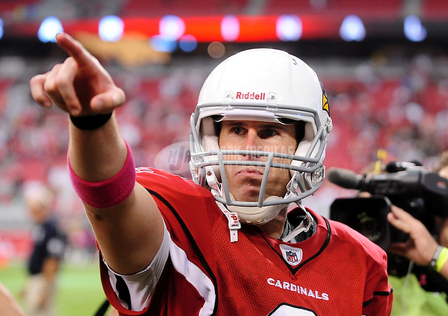 Oct. 10, 2010; Glendale, AZ, USA; Arizona Cardinals quarterback (6) Max Hall celebrates following the game against the New Orleans Saints at University of Phoenix Stadium. The Cardinals defeated the Saints 30-20. Mandatory Credit: Mark J. Rebilas-