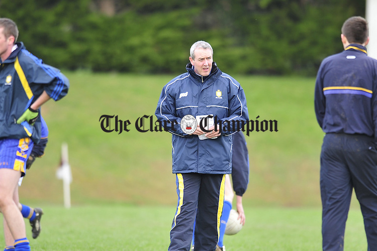 Clare v Tipperary Division 4 Round 2 football league at Ardfinnan co Tipperary.Pic Arthur Ellis. Manager Frank Doherty