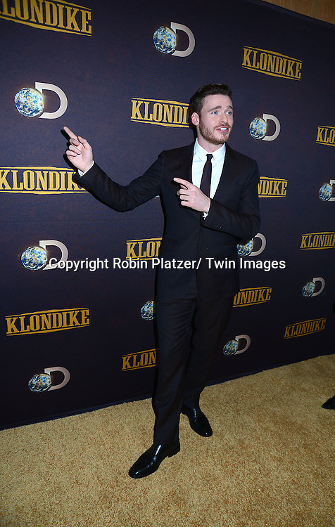 "Richard Madden attends the premiere of Discovery Channel's first scripted series  "" Klondike"" on January 16, 2014 at Best Buy Theater in New York City. The series will run on January 20, 21 and 22, 2014."