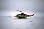 North Slope Borough Rescue Helicopter During Rescue From Broken Off Floating Ice Sheet