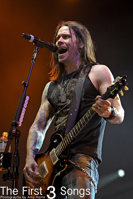 Myles Kennedy of Alter Bridge performs during the Carnival of Madness tour at the Kentucky State Fair's Cardinal Stadium on Friday, August 26, 2011.