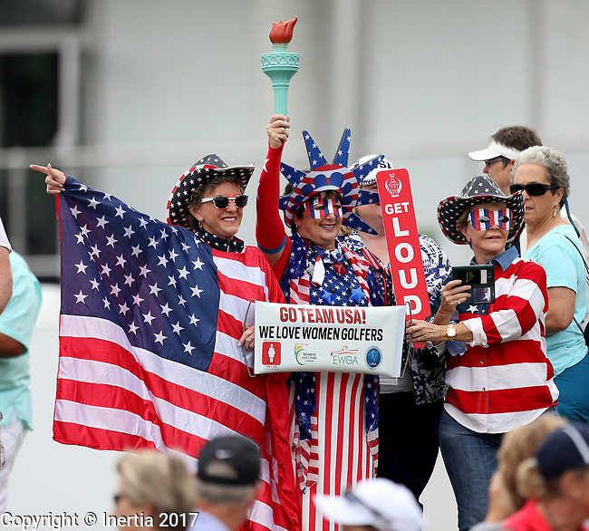 DES MOINES, IA - AUGUST 19: American fans show their support of the USA women's golf team during the morning foursome matches at the 2017 Solheim Cup in Des Moines, IA. (Photo by Dave Eggen/Inertia)