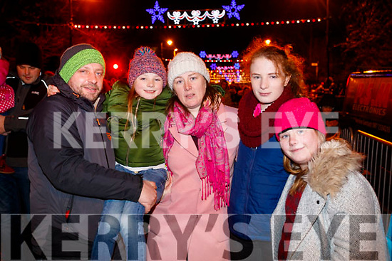 Mike Griffin, Leann Griffin, Helina O'Neill, Natasha Griffin and Lauren Griffin, Castlemaine at the Fireworks in Tralee on New Years Eve.