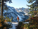 Hikers, Cascade Mountains, Snow Lake Trail, Snow Lake, Chair Peak, Alpine Lakes Wilderness Area, Mount Baker-Snoqualmie National Forest, Washington State, Pacific Northwest, model released, Gary Parker, David Lotz, (hidden).