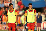 07 May 2016: Fort Lauderdale's Giuseppe Gentile (right) and Victor Pineda (left). The Carolina RailHawks hosted the Fort Lauderdale Strikers at WakeMed Stadium in Cary, North Carolina in a 2016 North American Soccer League Spring Season game. The Strikers won the game 3-1.