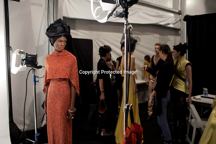 NEW YORK, SEPTEMBER 9 2012: Models for the South African designer David Tlale backstage before his show at Mercedes Benz New York fashion week at the Box, at Lincoln Center, New York. (Photo by: Per-Anders Pettersson)