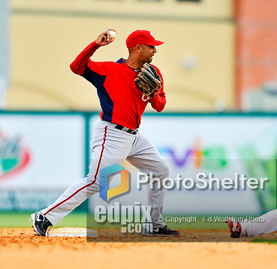 3 March 2011: Washington Nationals' infielder Alex Cora doubles off Aaron Luna during a Spring Training game against the St. Louis Cardinals at Roger Dean Stadium in Jupiter, Florida. The Cardinals defeated the Nationals 7-5 in Grapefruit League action. Mandatory Credit: Ed Wolfstein Photo