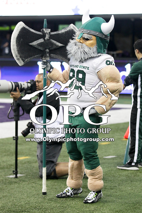 17 September 2016:   Portland State mascot Victor E. Viking against Washington. Washington defeated Portland State 41-3 at the University of Washington in Seattle, WA.