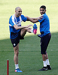 Leicester City FC's Yohan Benalouane (l) and Riyad Marhez during training session. April 11, 2017.(ALTERPHOTOS/Acero)