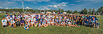 4 June 2016: A group of the high school Ultimate Disk athletes and coaches pose on the main field at the conclusion of the VYUL State Ultimate Disk Championships at Bombardier Park in Milton, Vermont. Mandatory Credit: Ed Wolfstein Photo *** RAW (NEF) Image File Available ***