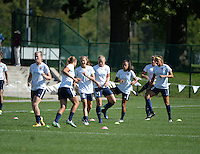 Kansas City, MO - Sunday September 04, 2016: Sky Blue FC, Sarah Killion, Leah Galton prior to a regular season National Women's Soccer League (NWSL) match between FC Kansas City and the Sky Blue FC at Swope Soccer Village.