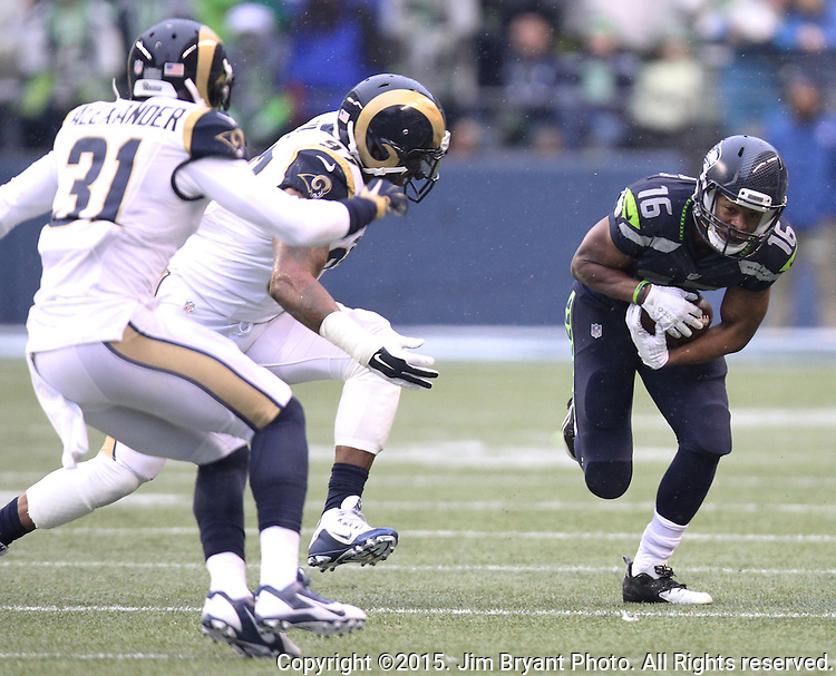 Seattle Seahawks wide receiver Tyler Lockett (16) runs after catching a pass against the St. Louis Rams at CenturyLink Field in Seattle, Washington on December 27, 2015.  The Rams beat the Seahawks 23-17.      ©2015. Jim Bryant Photo. All Rights Reserved