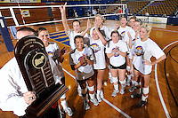 22 November 2008:  The Western Kentucky University Lady Toppers and their coach, Travis Hudson (holding trophy) with the championship trophy after the WKU 3-0 victory over New Orleans in the championship game of the Sun Belt Conference tournament at U.S. Century Bank Arena in Miami, Florida.