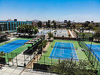 Aerial view of tennis courts, tennis in stadium Hector Espino in Hermosillo, Sonora, Mexico. (Photo: Luis Gutierrez)<br />