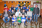 Front l to r: Sean Hurley, John Davis, Lorcan Ryan...Middle row: Mark Power (Kerry minor hurling trainer), Cian Hussey, Mikey Boyle (Kerry Senior Hurling Captain), Kevin Hannafin, Tackie Tyrrell (Kilkenny Hurling All-Star)...Back: Dean Sinnott, Ryan Delaney, Christopher Egan, Mike Dunne, Nathan O'Driscoll, Fionan Horgan, James Lawlor, Cormac O'Shea, Diarmuid O'Connor, Padraig Casey, Aidan O'Mahony (Kerry minor hurling selector). ..........