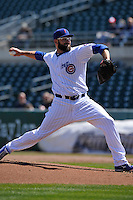Iowa Cubs Stephen Fife (34) throws during the game against the New Orleans Zephyrs at Principal Park on April 13, 2016 in Des Moines, Iowa.  The Cubs won 9-5 .  (Dennis Hubbard/Four Seam Images)