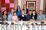 Colette Griffin (centre) from Milltown celebrated her 60th birthday surrounded by friends and family in the Paddy's Restaurant, Killarney last Saturday night. Pictured with Front L-R Printha, Stuart, Kaya, Leonard and Sarah Griffin and Ciaran O'Mahony, Back L-R Cristina Rascon and Joanne O'Mahony.