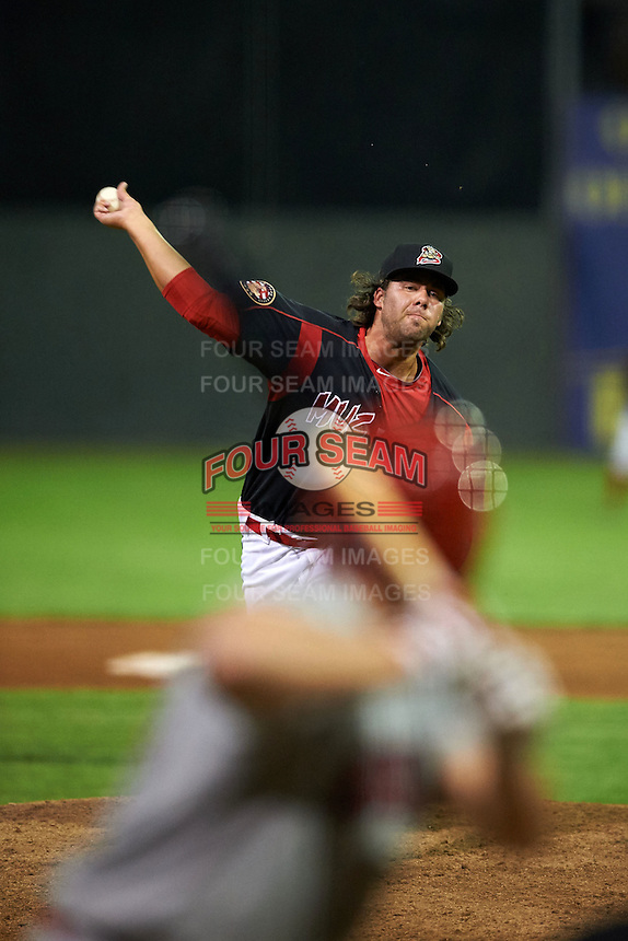 Batavia Muckdogs pitcher Ryan Hafner (25) delivers a pitch during a game against the Auburn Doubledays July 10, 2015 at Dwyer Stadium in Batavia, New York.  Auburn defeated Batavia 13-1.  (Mike Janes/Four Seam Images)