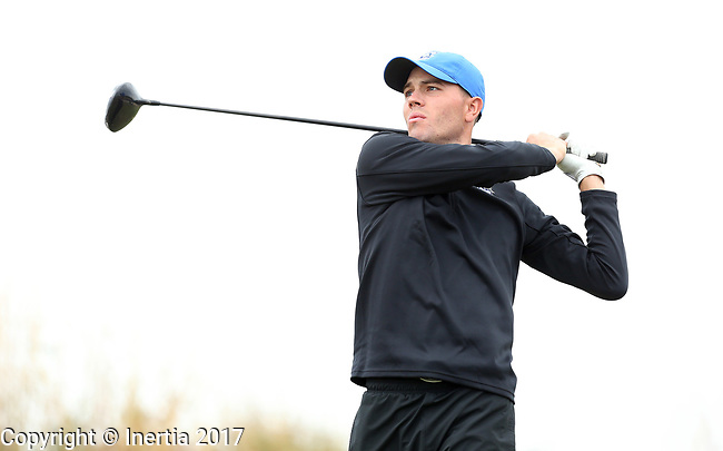 VALENTINE, NE - OCTOBER 2: Trey Petitt from Creighton University watches his tee shot on the second hole during the SDSU Invite Monday at The Prairie Club in Valentine, NE. (Photo by Dave Eggen/Inertia)